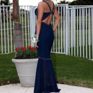 Faviana Dresses - Navy Blue Prom Dress / Evening Gown